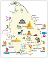 Sri Lanka Tourist Attractions on Map